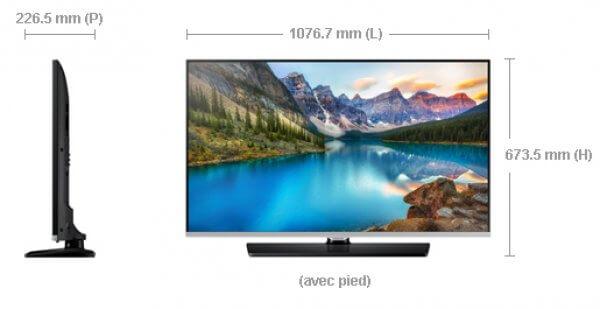 Dimension Samsung TV hospitality 48 pouces