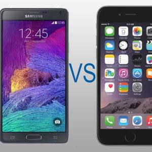comparaison Smasung note 4 versus Appel Iphone 6 plus
